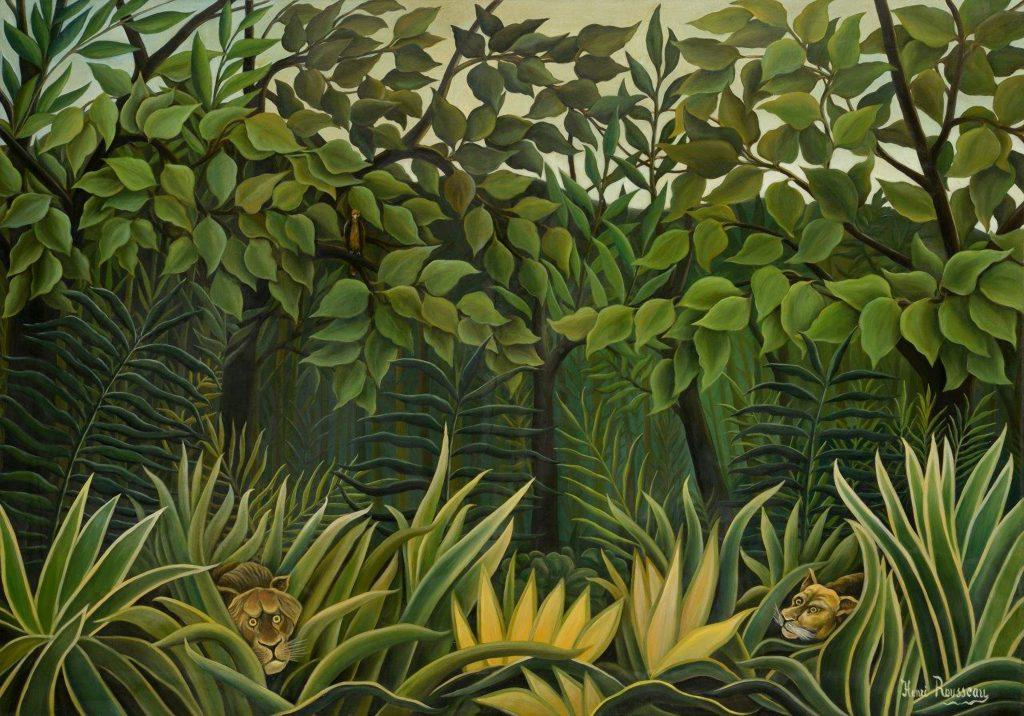 Henri Rousseau dit le Douanier Rousseau Deux Lions à l'affût dans la jungle 1909-1910 Huile sur toile 84,5 x 119,8 cm Collection particulière. Photo : Archives de l'Hôtel des Ventes de Monte-Carlo